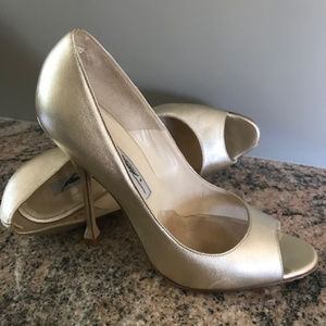 Brian Atwood Gold Peep Toe Shoes - Size 37 1/2